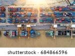 container ship in import export ...   Shutterstock . vector #684866596