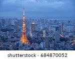 tokyo at night with illuminated ... | Shutterstock . vector #684870052