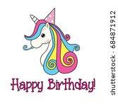 unicorn happy birthday greetings   Shutterstock .eps vector #684871912