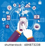 hand holding smartphone with... | Shutterstock .eps vector #684873238