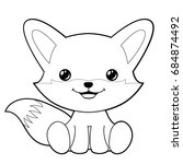 cute fox clipart coloring... | Shutterstock .eps vector #684874492