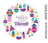 diwali hindu festival design... | Shutterstock .eps vector #684878302