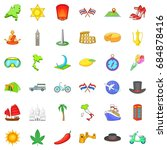 around the world icons set ... | Shutterstock .eps vector #684878416