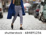 fashionable young woman on a... | Shutterstock . vector #684891256