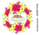 invitation with floral... | Shutterstock .eps vector #684897046