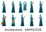 Young muslim pregnant woman set. Pregnant woman showing ultrasound image, holding baby booties, bodysuit, cupcake, shopping bags. Set of vector flat design illustrations isolated on white background.