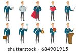 caucasian bridegroom showing a... | Shutterstock .eps vector #684901915