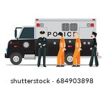 police station with prison bus  ... | Shutterstock .eps vector #684903898