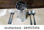 silver cutlery | Shutterstock . vector #684925306
