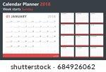 calendar planner 2018  week... | Shutterstock .eps vector #684926062