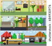 set of school building interior ... | Shutterstock . vector #684930976