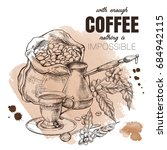 decorative coffee poster ... | Shutterstock .eps vector #684942115