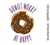 bitten glazed donut with an... | Shutterstock .eps vector #684964162