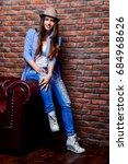 full length portrait of a happy ...   Shutterstock . vector #684968626