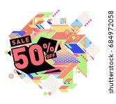 summer sale memphis style web... | Shutterstock .eps vector #684972058