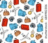 seamless pattern of suitcase ... | Shutterstock .eps vector #684982306