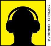 silhouette ear protectors on...   Shutterstock .eps vector #684983932