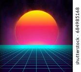 retro background futuristic... | Shutterstock .eps vector #684985168