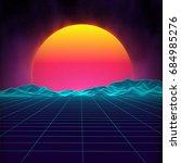 retro background futuristic... | Shutterstock .eps vector #684985276