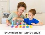 teacher woman learn preschooler ... | Shutterstock . vector #684991825