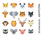 set of animal faces | Shutterstock .eps vector #684992986