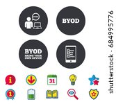 byod icons. human with notebook ... | Shutterstock .eps vector #684995776