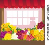 illustration of a flowers shop. ... | Shutterstock .eps vector #684998806