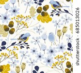 seamless autumn pattern with... | Shutterstock .eps vector #685013026
