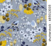 seamless autumn pattern with... | Shutterstock .eps vector #685013035
