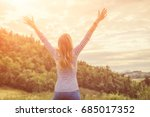 woman enjoying in the nature... | Shutterstock . vector #685017352