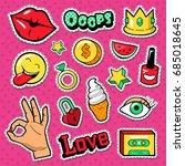 modern woman fashion doodle... | Shutterstock .eps vector #685018645
