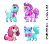 little cute pets icons set.... | Shutterstock .eps vector #685021255