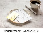 coffee and receipt bill for... | Shutterstock . vector #685023712