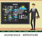 man on tv tells a weather...   Shutterstock .eps vector #685024168