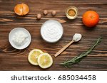 beautiful composition with shea ... | Shutterstock . vector #685034458