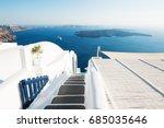 white architecture on santorini ... | Shutterstock . vector #685035646