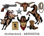 set of cowboy objects   Shutterstock .eps vector #685040536