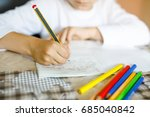 child doing homework and... | Shutterstock . vector #685040842