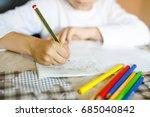 child doing homework and... | Shutterstock . vector #685040842