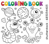 coloring book monster theme 2   ... | Shutterstock .eps vector #685054405