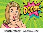 oops pop art kitsch woman.... | Shutterstock .eps vector #685062322