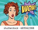 wow pop art woman. retro vector ...   Shutterstock .eps vector #685062388