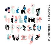 made with ink alphabet with... | Shutterstock .eps vector #685064932