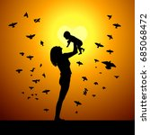 silhouette of mom with baby on... | Shutterstock .eps vector #685068472