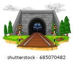 train riding on railroad... | Shutterstock .eps vector #685070482