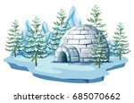 igloo at the arctic land... | Shutterstock .eps vector #685070662