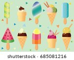 tasty colorful ice cream set | Shutterstock .eps vector #685081216