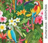 tropical flowers and parrots... | Shutterstock .eps vector #685092466