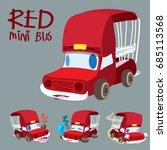 cartoon car set   red mini bus  ... | Shutterstock .eps vector #685113568
