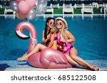 two beautiful girlfriends in... | Shutterstock . vector #685122508